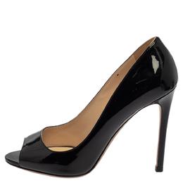 Prada Black Patent Leather Peep Toe Pumps Size 38.5 380702