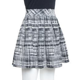 Alice + Olivia Monochrome Textured Lurex Wool Pleated Mini Skirt S 377986