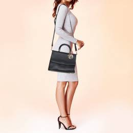 Dior Black Leather Medium Be Dior Flap Bag 380712