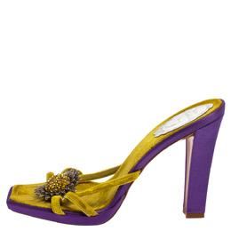 Rene Caovilla Yellow Velvet Flower Embellished Slide Sandals Size 39 380719