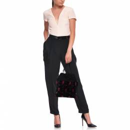 Prada Black/Pink Printed Velvet and Suede Drawstring Pouch Bag 379934