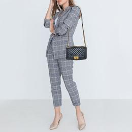 Chanel Metallic Grey Quilted Leather Medium Boy Flap Bag 379595