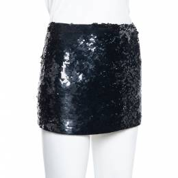 Joseph Black Sequin Embellished Silk Mini Skirt M 379597