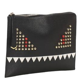 Fendi Black Studded Leather Monster Clutch Bag 379774