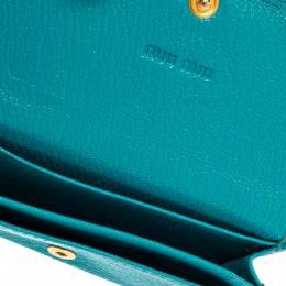 Miu Miu Turquoise Leather Madras Card Case 380865