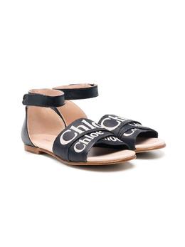 Chloe Kids logo print strap sandals C19128859