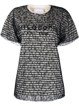 Philosophy Di Lorenzo Serafini полосатая футболка с кружевным верхом A07100746
