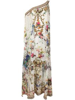 Camilla платье-кафтан на одно плечо с цветочным принтом 00010898