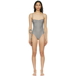 Haight Off-White and Black Vintage One-Piece Swimsuit 01020129