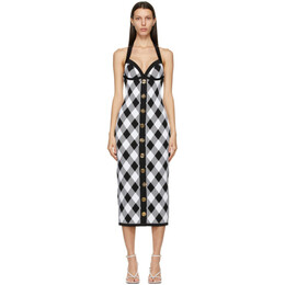 Balmain Black and White Gingham Halter Dress VF16544K214
