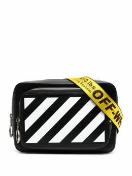 Off-White поясная сумка с диагональными полосками OMNO002R21LEA0011001