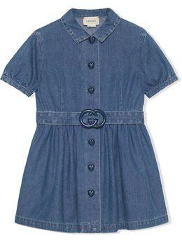 Gucci Kids короткое джинсовое платье с логотипом Interlocking G 643405XDBKW