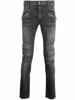Balmain Monogram embroidered slim-fit denim jeans VH1MG006010D