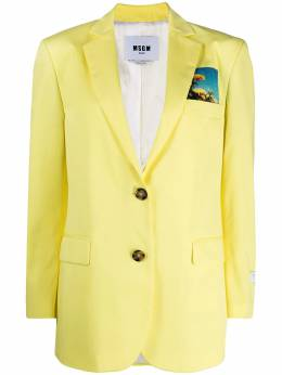 MSGM sunflower-patch single-breasted blazer 3041MDG11X217109