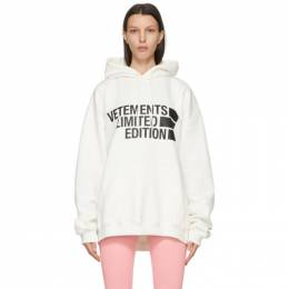 Vetements White Limited Edition Big Logo Hoodie UE51TR820W