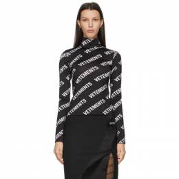 Vetements Black and White All-Over Logo Fitted Turtleneck WE51TO120B