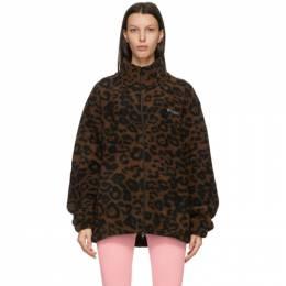 Vetements Brown Fleece Leopard Logo Jacket UE51JA200L