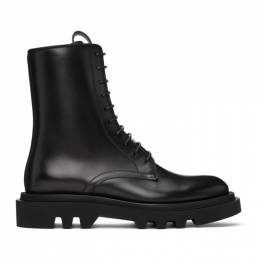 Givenchy Black Leather Combat Lace-Up Boots BH602YH0KF
