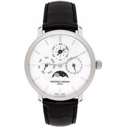 Frederique Constant Silver and Black Slimline Perpetual Calendar Watch FC 775S4S6