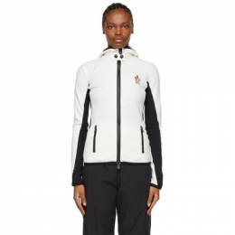Moncler Grenoble White and Black Hooded Cardigan Jacket F20988G7100080093