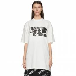 Vetements White Limited Edition Big Logo T-Shirt UE51TR810W