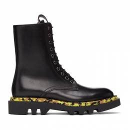 Givenchy Black Leather Camo Combat Lace-Up Boots BH602VH0KF001