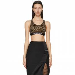 Vetements Brown and Black Leopard Logo Sports Bra WE51TO100L