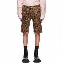 Vetements Brown Denim Leopard Haute Couture Shorts ME51PA120L