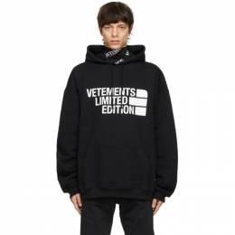 Vetements Black Limited Edition Big Logo Hoodie UE51TR820B