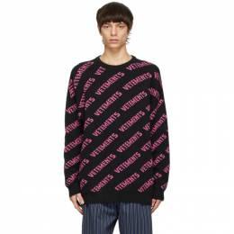 Vetements Black All-Over Logo Sweater UE51KN200X