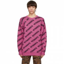 Vetements Pink All-Over Logo Sweater UE51KN200P