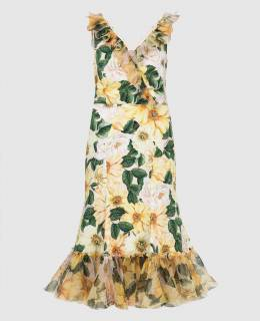 Желтое платье из шелка Dolce&Gabbana 2300006585760