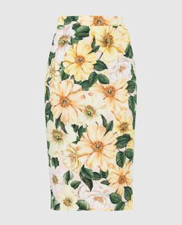 Желтая юбка из шелка Dolce&Gabbana 2300006586880