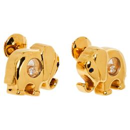 Chopard Happy Diamonds Elephant Motif Sapphire Diamond 18K Yellow Gold Stud Earrings 380843