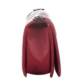 Chanel Red Leather Chevron Boy Flap Bag 379808