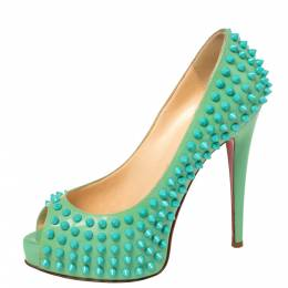 Christian Louboutin Green Patent Lady Peep Toe Spikes Platform Pumps Size 37.5 381237