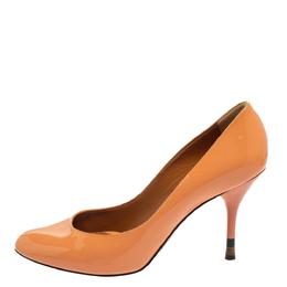 Fendi Orange Patent Leather Round Toe Pumps Size 39 381166