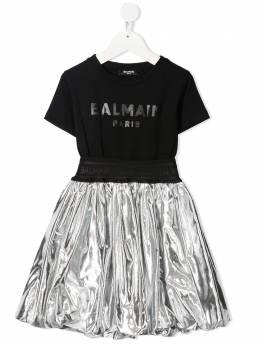Balmain Kids расклешенное платье в стиле колор-блок 6O1191OB690
