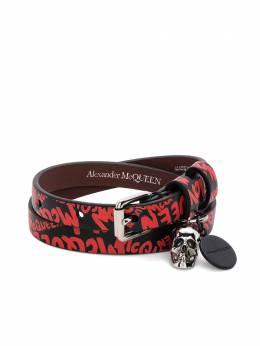 Alexander McQueen Skull Graffiti print wrap bracelet 5544661XP0K