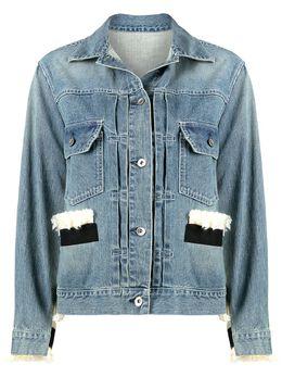 Sacai джинсовая куртка с вязаными вставками 2105427