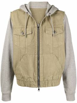 Balmain contrast panel hooded jacket VH1TG015207C