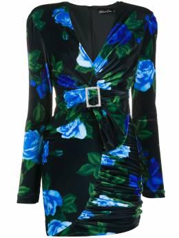 Richard Quinn бархатное платье мини с поясом и цветочным принтом RQAW20