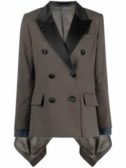 Sacai двубортный пиджак в технике пэчворк 2105392