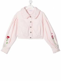 Monnalisa куртка с оборками и цветочной вышивкой 797102R47031