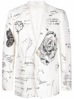 Alexander McQueen однобортный пиджак Sketchbook 652174QQW69