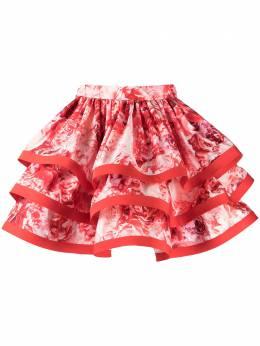 Elisabetta Franchi многослойная юбка с цветочным принтом GO46811E2