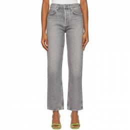 Agolde Grey 90s Pinch High-Rise Straight Jeans A154-1207