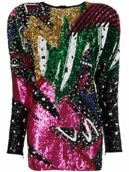 Balmain платье с широкими рукавами и пайетками VF16267P064