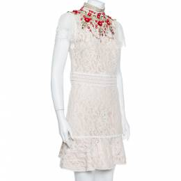 Alice + Olivia Cream Lace Embellished Fit & Flare Francine Mini Dress M 381652