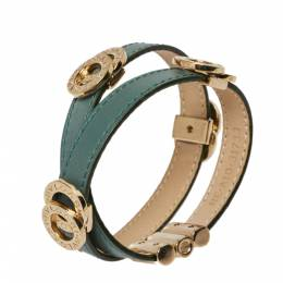 Bvlgari Bvlgari Green Leather Double Coiled Bracelet 381263